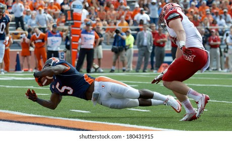 CHAMPAIGN,IL-SEPTEMBER 28: Fighting Illini running back Donovonn Young (5) dives for the end  zone in order to score a touch down on Saturday, Sept 28, 2013.