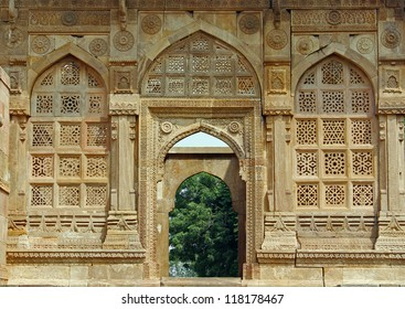 CHAMPANER PAVAGADH, GUJARAT/ INDIA-OCTOBER 3: Jami Masjid on October 3, 2012 in Champaner Pavagadh. A UNESCO World Heritage site built in 16th century. Amazing lattice work ( jali ) on entrance porch.