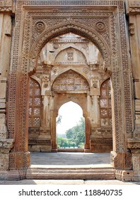 CHAMPANER PAVAGADH, GUJARAT/ INDIA-OCTOBER 3: Jami Masjid on October 3, 2012 in Champaner Pavagadh. A UNESCO World Heritage site built in 16th century. Beautiful hand carved grille on entrance porch.