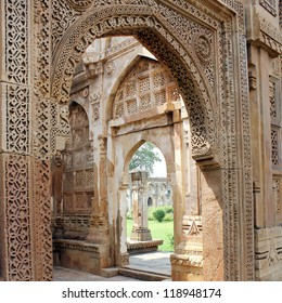 CHAMPANER PAVAGADH, GUJARAT/ INDIA-OCTOBER 3: Jami Masjid on October 3, 2012 in Champaner Pavagadh. A UNESCO World Heritage site built in 16th century. Intricate stone carving on entrance porch.