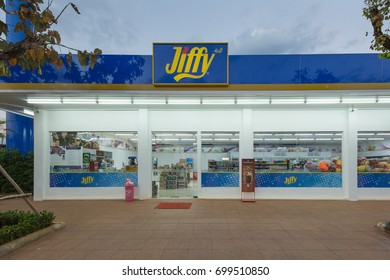 CHAMPASAK, LAO - FEB 5: Jiffy convenience stores on Feb 5, 2015 in Pakse, Champasak, Lao. It is a Thai chain of convenience stores, mostly in filling stations.