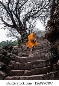 champasak, laos - 11 26, 2018: wat phou - monk