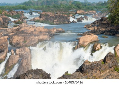 Champasak, Laos - Jan 09 2018: Li Phi Falls (Tat Somphamit) on Mekong River. a famous Landscape in the Mekong River, 4000 islands, Champasak Province, Laos.