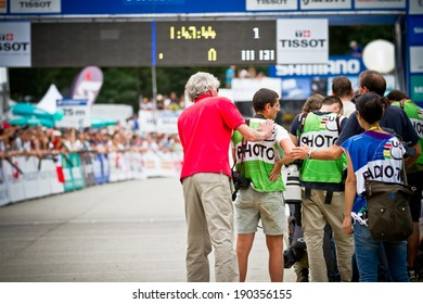 CHAMPERY, SWITZERLAND, SEPTEMBER 21: The photographers team that works at the UCI downhill world championships 2011