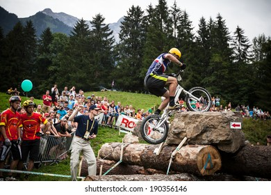 CHAMPERY, SWITZERLAND - SEPTEMBER 21: An unidentified biker as he competes at the UCI bicross world championships 2011.