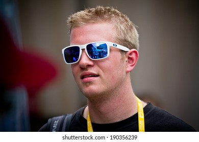 CHAMPERY, SWITZERLAND - SEPTEMBER 21: View of the crowd at the UCI downhill world championship 2011 through the glasses of an unidentified person.