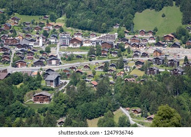 Champery village with apartment buildings (Switzerland)