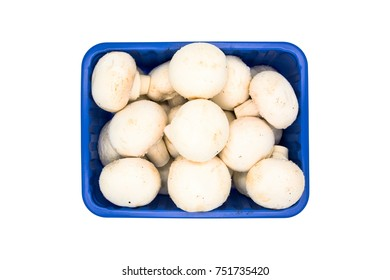 Champignon mushrooms isolated on white background.