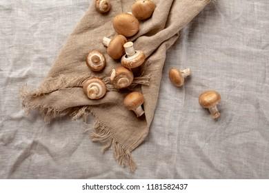 Champignon mushrooms top view