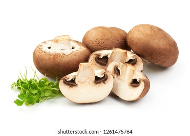 Champignons with Sliced champignons with parsley, close-up, isolated on white background.