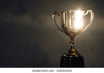 champion golden trophy placed on wooden table