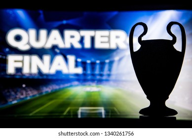 "Champions league football trophy silhouette and tittle ""QUARTER FINAL"""