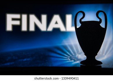 "Champions league trophy silhouette and tittle ""FINAL"""