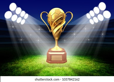 Championship awarding ceremony, gold trophy award, football winner cup with a golden soccer ball in the light of spotlights on the green grass field of the stadium, 3d illustration