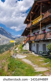 Champoluc, Aosta Valley, Italy - August 24, 2011: Mountain refuge (Ayas Valley, Aosta Valley, Italy).