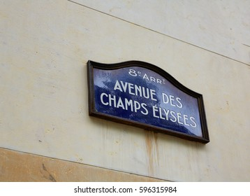 Champs Elysees avenue street sign in Paris of France