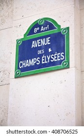 Champs Elysees street sign in Paris.
