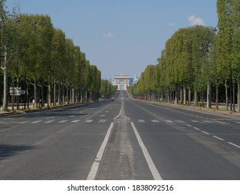 Champs-Elysees without people during the quarantine in Paris.