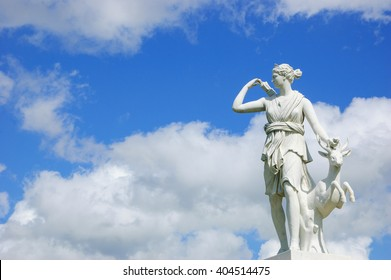CHAMPS-SUR-MARNE, FRANCE - APRIL, 3, 2016: Statue of hunting Diana goddess in park of Chateau de Champs. Chateau de Champs was built in 17th century.