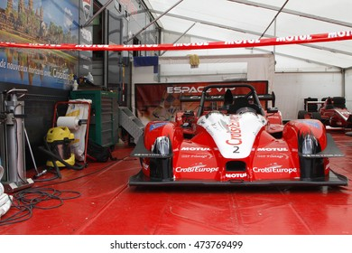 CHAMROUSSE, FRANCE, August 21, 2016 : A racing car at the pits. Chamrousse uphill racing cars competition takes place every year during august.