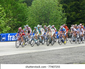 "CHAMROUSSE, FRANCE - JUN 11: Professional racing cyclists ride UCI WORLD TOUR "" CRITERIUM DU DAUPHINE LIBERE"" on June 11, 2010 in Chamrousse pass, Isere, France."