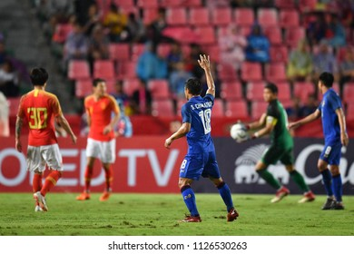 Chanathip Songkrasin No.18 of Thailand in action during 2018The International Friendly Match between Thailand and China at the Rajamangala Stadium on June 2, 2018 in Bangkok,Thailand,