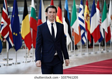 Chancellor of Austria Sebastian Kurz attends the EU members' informal meeting of the 27 heads of state or government at European Council headquarters in Brussels, Belgium on February 23, 2018.