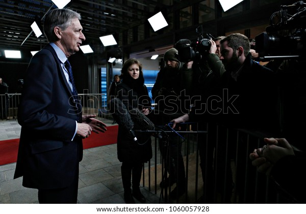 Chancellor of the Exchequer, Philip Hammond arrives to attend in an Economic and Financial (ECOFIN) Affairs Council meeting in Brussels, Belgium on Jan. 27, 2017