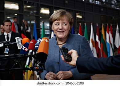Chancellor of Germany, Angela Merkel arrives for  on Eastern Partnership summit at the European Council in Brussels, Belgium on Nov. 24, 2017