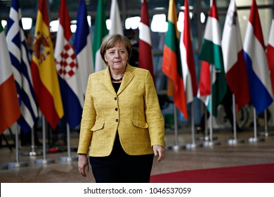 Chancellor of Germany, Angela Merkel arrives for a meeting with European Union leaders in Brussels Belgium on Dec. 14, 2017.