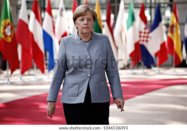 Chancellor of Germany, Angela Merkel arrives for a meeting with European Union leaders in Brussels Belgium on April 29, 2017.