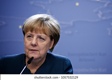 Chancellor of Germany Angela Merkel gives  a media conference at the conclusion of an EU leaders summit to discuss Syria, relations with Russia, trade and migration in Brussels on Oct. 21, 2016.