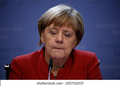 Chancellor of Germany Angela Merkel gives  a media conference at the conclusion of an EU leaders summit to discuss Syria, relations with Russia, trade and migration in Brussels on Oct. 20, 2016.