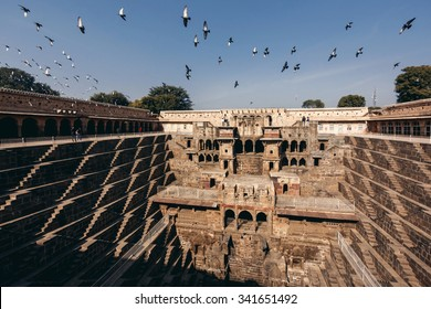 CHAND BAORI, INDIA - JANUARY 9, 2015: Chand Baori Stepwell in village of Abhaneri on January 9, 2015 in Chand Baori, India
