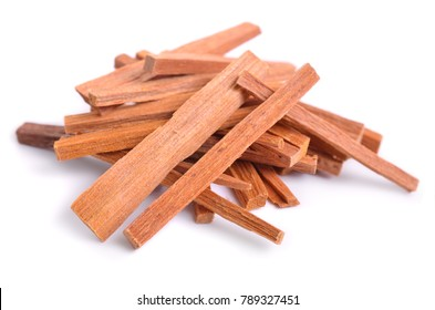 Chandan or sandalwood sticks isolated on white background.