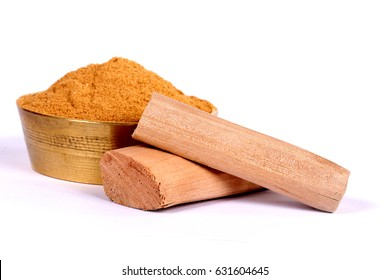 Chandan or sandalwood, sandalwood sticks, perfume, selective focus, powder