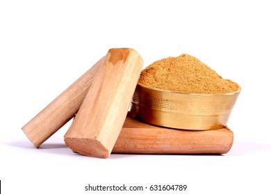 Chandan or sandalwood, sandalwood sticks, perfume, selective focus, powder