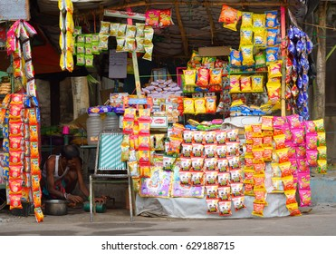Chandannagar, India - April 16, 2017: A stationery store selling variety of products.