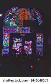 Chandannagar, West Bengal, India November 2018 - Spectacular colourful lighting decoration with LED bulbs during Jagadhatri Puja celebrations. The lighting has reputation in Puja pandals and streets.