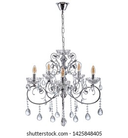 Chandelier base silver color with white transparent crystal. Isolated white background.