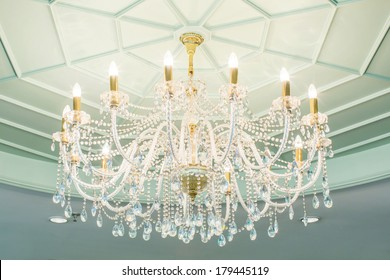 chandelier in classic room shining