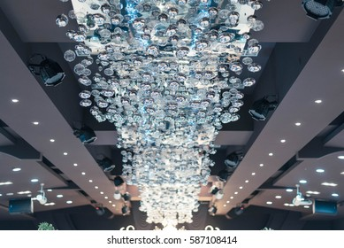 ChandelierIt is the decoration lighting on the ceiling of the wedding hall.It was quite beautiful.
