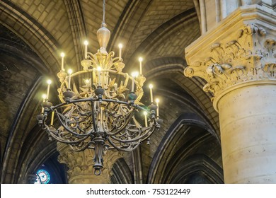 Chandelier inside Notre Dame de Paris, France, September 2017