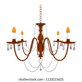 Chandelier isolated on white background Computer generated 3D illustration