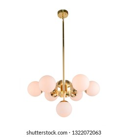 Chandelier Isolated on White Background. Ceiling 7 Light Round Pendant Light Fixture. Pink Frosted Glass and Gold Metal Hanging Lights. Pendant Sconce Lighting Lamp