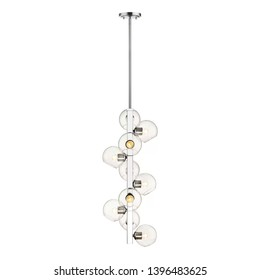 Chandelier Isolated on White Background. Ceiling Light Round Pendant Light Fixture. Hanging Lights with Delicate Open Glass Orbs . Modern 10-Light LED Chandelier. Pendant Sconce Lighting Lamp