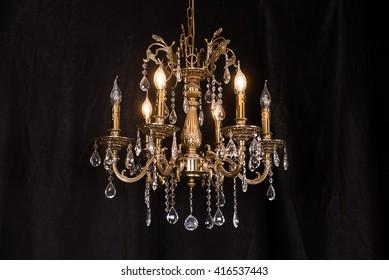 Chandelier, luxury retro style on dark background