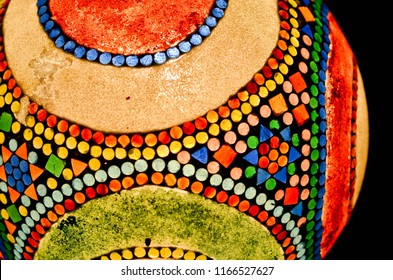 Chandelier made from colorful glass mosaic. Colorful glass texture.