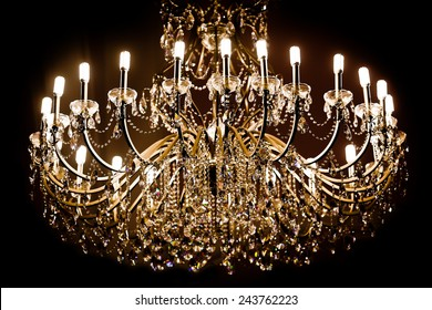 Chandelier on a black background