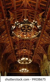 Chandeliers hanging from the ceiling inside Cardiff Castle, Wales